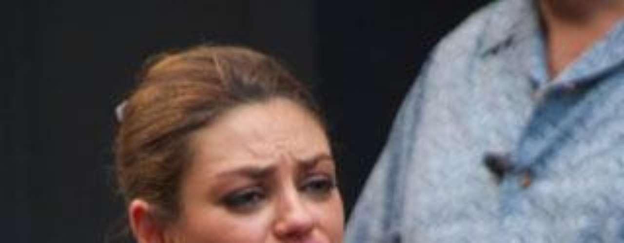 Mila Kunis durante el rodaje de su última película, 'Friends with benefits'.