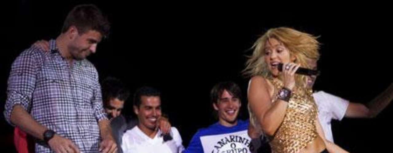 Piqué y cinco de sus compañeros se unieron al espectáculo de la de Barranquilla.