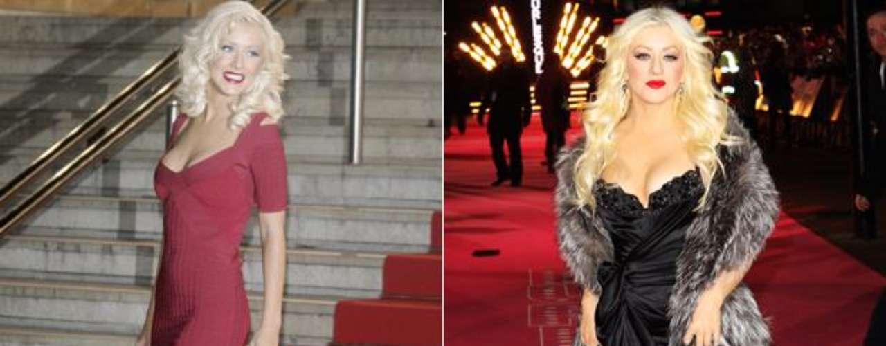 Antes (2007)- Después (2010). La cantante Christina Aguilera ha sufrido una impresionante transformación a través de los años, en el que no sólo el rastro del tiempo ha dejado huella, sino también un cambio de imagen en su figura y forma de vestir.