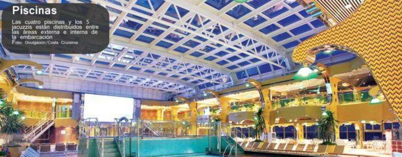 En la embarcación había cuatro piscinas y cinco jacuzzis distribuidos en áreas internas y a cielo abierto.