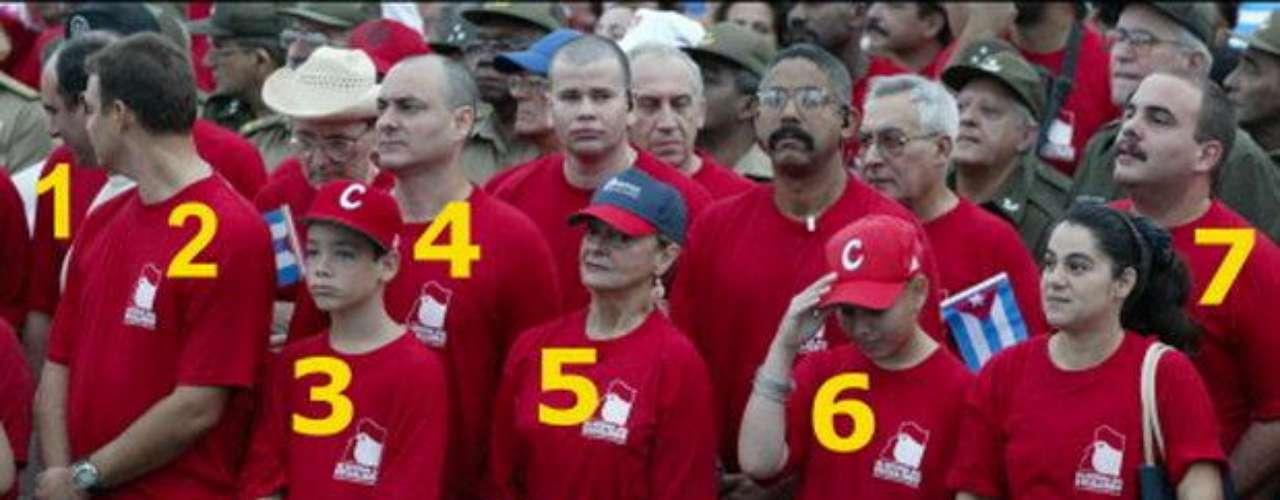 Por último, una muestra de lo que es una foto familiar de los Castro. Por números: #1: Alejandro Castro, hijo, experto en computación; #2: Antonio Castro, hijo, doctor del equipo Cubano de béisbol; #3: No se sabe el nombre, nieto, hijo de Ángel Castro; #4: Angel Castro, hijo; #5: Dalia Soto del Valle, esposa; #6: Mirta Castro, nieta, hija de Fidel Castro Díaz-Balart; #7: Alexis Castro, hijo, mecánico especialista de Mercedes Benz.