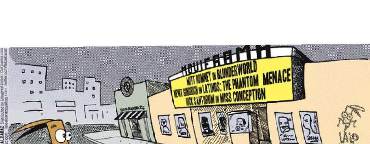 """Sus personajes ponen voz y rostro a muchos millones de hispanos. Aquí, ironiza sobre las """"amenazas"""" que cada precandidato republicano representa para esta minoría, según su mirada: títulos de películas reinventados para aludir a Mitt Romney, Newt Gingrich y Rick Santorum."""
