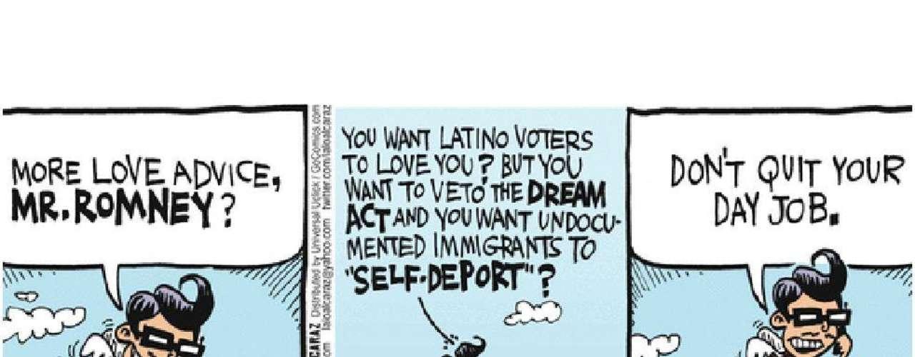 """En la campaña primaria, el favorito Mitt Romney es blanco frecuente de bromas: """"¿Usted quiere que los votantes latinos lo quieran? ¿Pero quiere vetar el Dream Act y hacer que los inmigrantes no deseados se autodeporten?"""" Y remata: """"Mejor no deje su otro trabajo""""."""