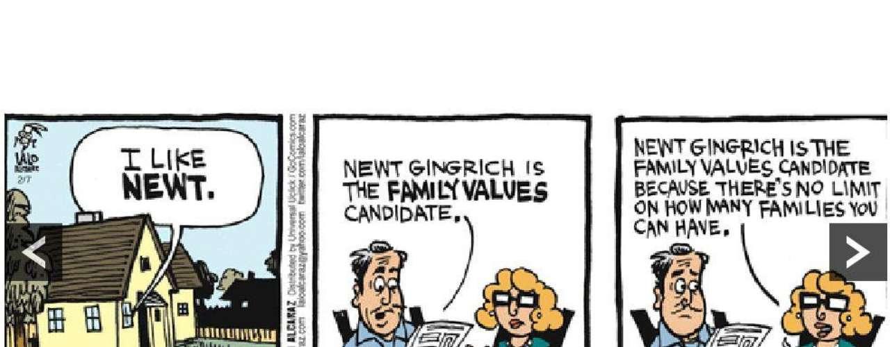 """También lo es el rival Newt Gingrich, en alusión a los deslices matrimoniales que trascendieron durante la campaña. """"Newt Gingrich es el candidato de los valores familiares porque no tiene límites sobre cuántas familias se puede tener"""", señala el personaje dibujado. (Fuente texto: BBC Mundo)"""