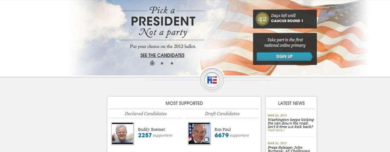 Pero hay más. Para quienes quieren escoger su propio candidato, la página web www.americanselect.org les invita a llenar un formulario con sus ideas políticas y el sistema le mostrará una lista de aspirantes afines. En junio se realizará una convención cibernética para seleccionar al candidato con más votos.