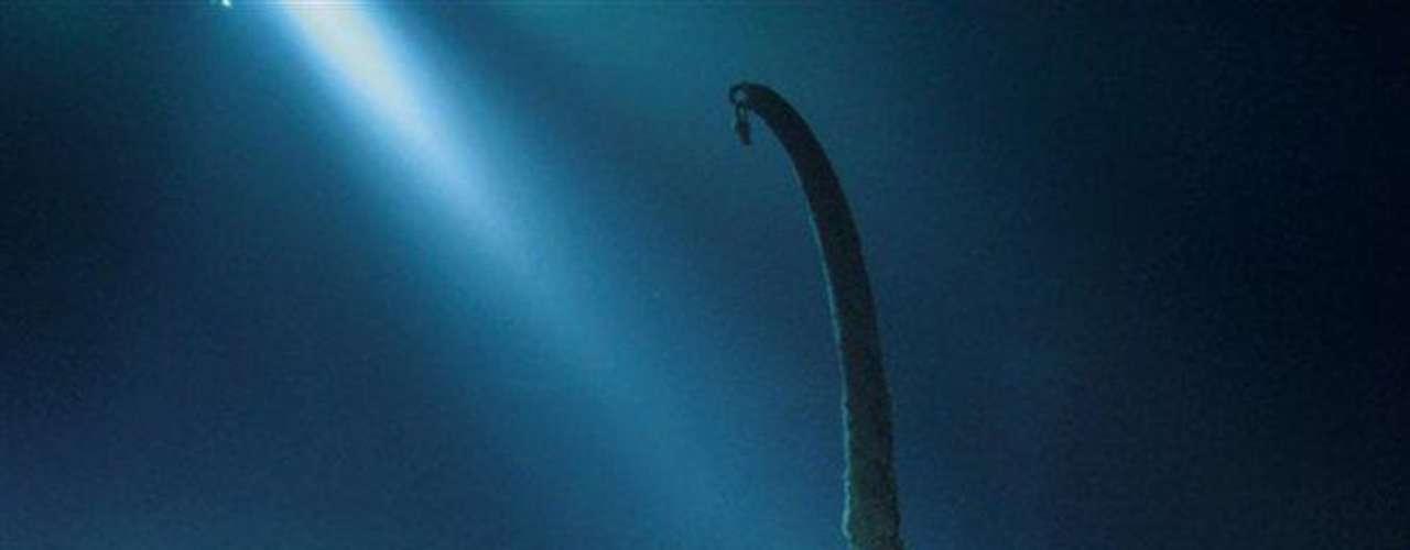 Cubierta de botes: Un único pescante sobrevive en la cubierta superior a la de paseo. Se necesitaban dos pescantes como este, uno en cada extremo del bote, para arriar un bote salvavidas al mar. El de la imagen se usó para bajar el bote plegable C, en el que J. Bruce Ismay, presidente de la compañía propietaria del Titanic, consiguió salvarse.