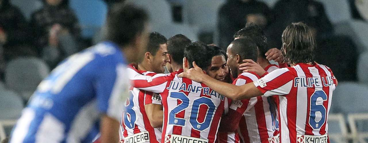 Ante la Real Sociedad en condición de visitante, Falcao marcó tripleta, sus goles llegaron al minuto 3 de penalti y los otros dos los consiguió en los últimos 10 minutos de juego.