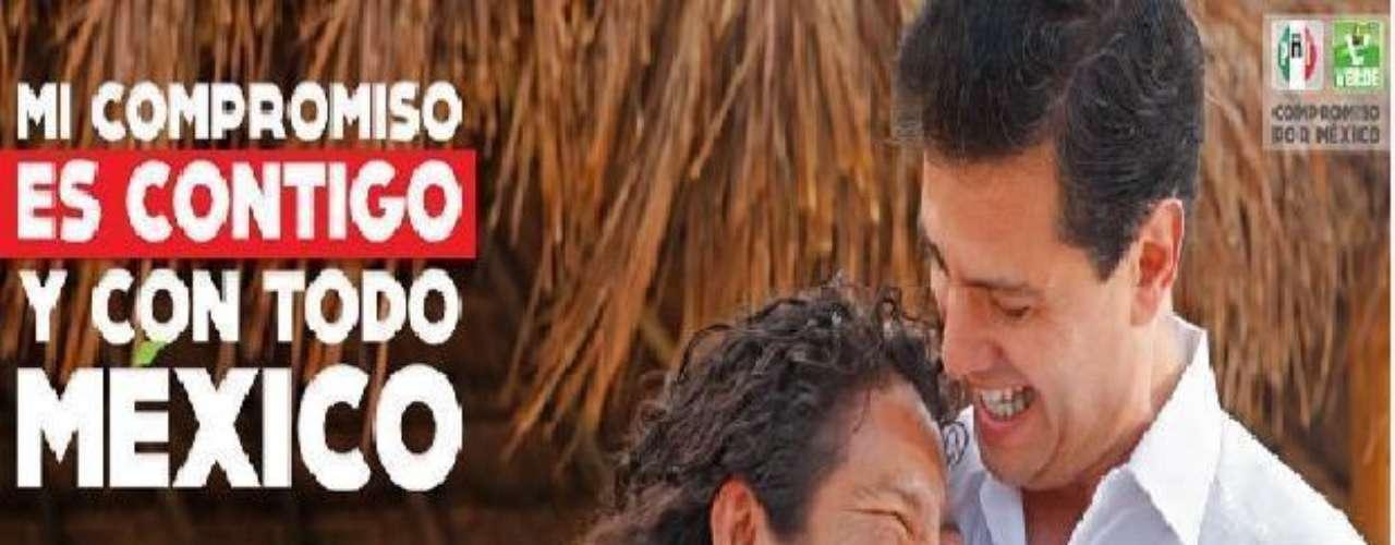 Usuarios de redes sociales han difundido la propaganda del candidato presidencial del Partido Revolucionario Institucional (PRI), Enrique Peña Nieto, donde abraza a una mujer, junto a una fotografía del ex presidente priísta Gustavo Díaz Ordaz, en una pose similar y con el concepto de campaña del actual abanderado tricolor.