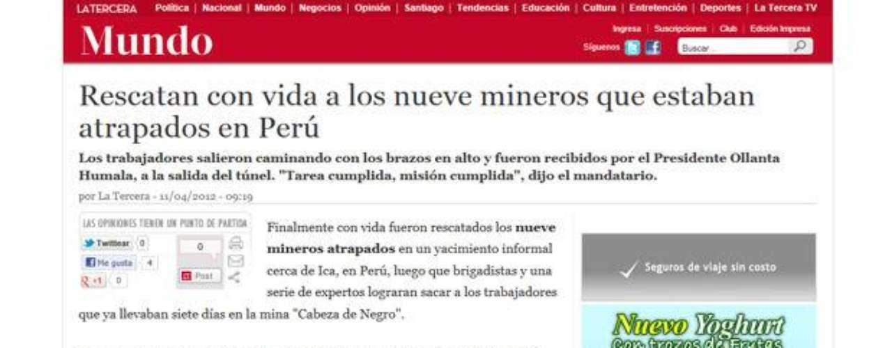 El diario chileno La Tercera subraya el buen estado de salud de los mineros y la presencia del presidente Humala