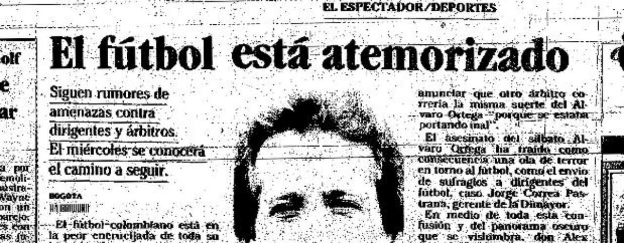 Luego del atentado contra Ortega, varios árbitros del país manifestaron su rechazo con abstenerse de pitar en Colombia y los principales diarios del país en ese entonces intentaban aclarar el panorama