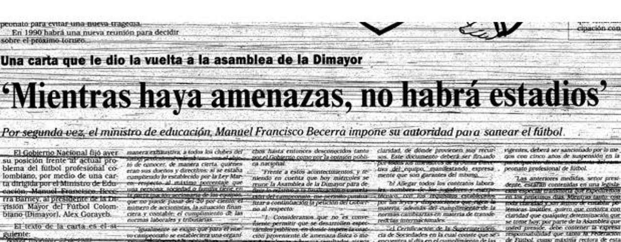 Esta fue la carta que emitió el Ministro de Educación, Manuel Francisco Becerra, donde pidió a la Dimayor reestructurar el fútbol colombiano y de no hacerlo se verían en la necesidad de suspenderlo