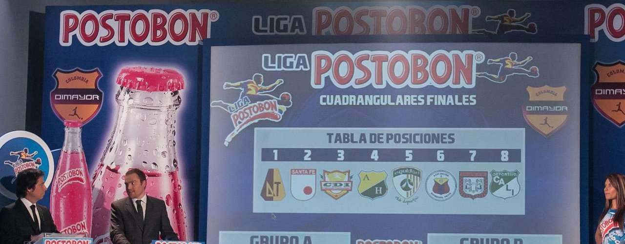 Los cuadrangulares de la Liga Postobón I - 2012 quedaron conformados así: Grupo A: Deportes Tolima, Atlético Huila, Deportivo Cali y Deportivo Pasto; y Grupo B: Independiente Santa Fe, Itagüí, La Equidad y Boyacá Chicó.