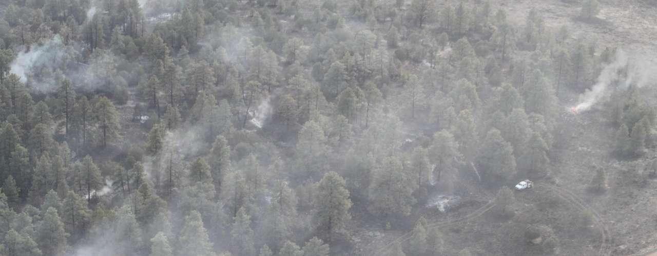 El fuego en el Bosque Nacional Gila se extendió de la noche a la mañana a más de 76.892 hectáreas (190.000 acres), o casi 777 kilómetros cuadrados (300 millas cuadradas), en su avance errático por las cuestas pronunciadas y cubiertas de pinos, y por los cañones escarpados de la región.