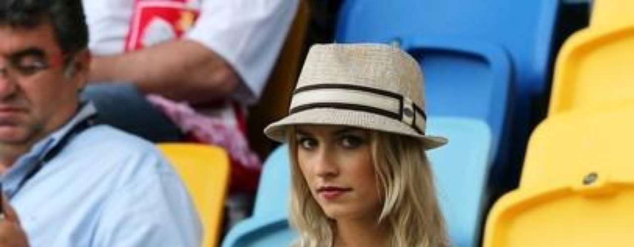 Lena Gercke, girlfriend of Sami Khedira of Germany looks on during the UEFA EURO 2012 group B match between Germany and Portugal at Arena Lviv on June 9, 2012 in L'viv, Ukraine.