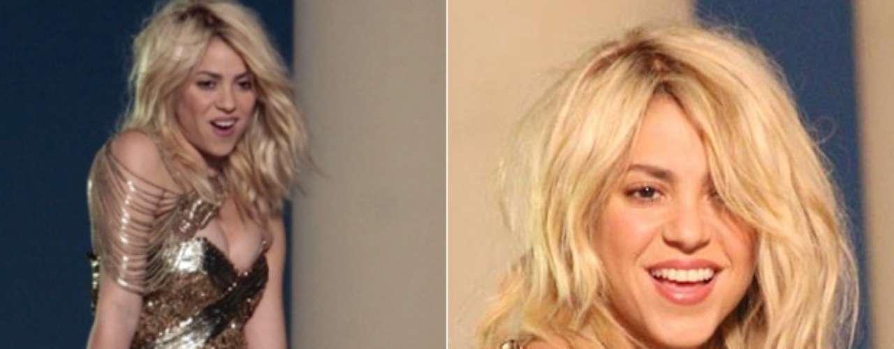 Shakira compartió, por las redes sociales, fotos de lo que será su nuevo video musical, donde se le ve bien rica y apretadita cubierta con un traje dorado.