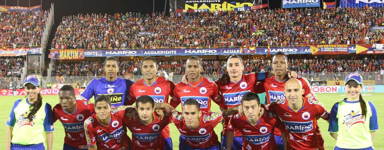 Deportivo Pasto salió a la cancha con: Cuadrado; García, Mosquera, Galeano, García; Rosero, Giraldo, Rendón, Rodríguez; Méndez y Jiménez
