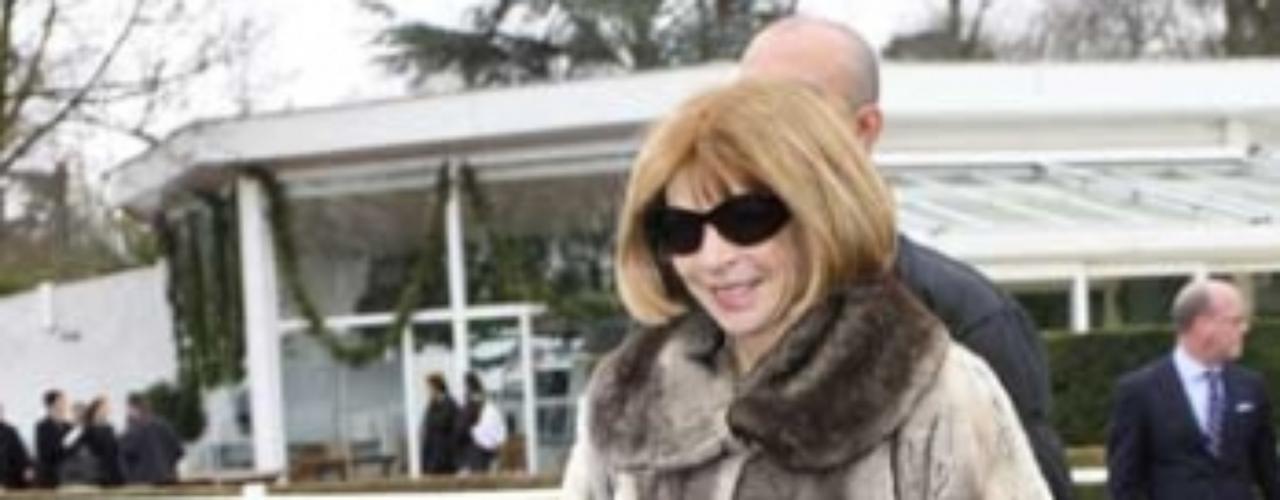 Wintour, editora de la edición estadounidense de Vogue, fue alcanzada por la tarta, cuando se disponía a asistir al desfile de modas de Chloe. Fue la segunda vez en un año que activistas de PETA le han lanzado una tarta.