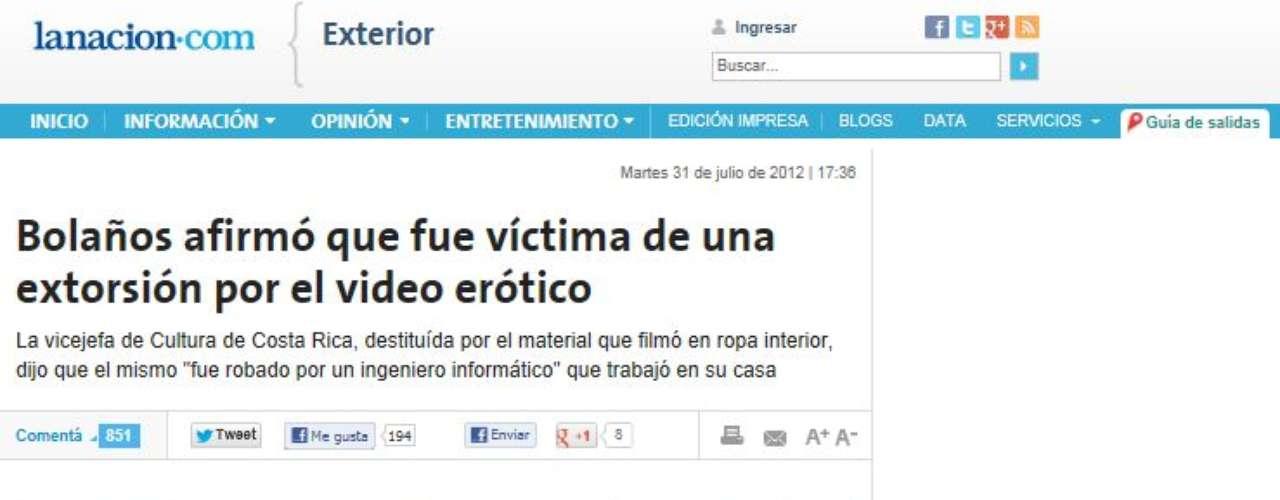 La Nación de Argentina emite la declaración de Bolaños quien afirmó que \