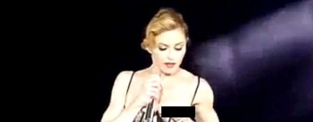 She couldn't contain herself and showed off a breast in Paris, too, while performing 'Human Nature.'