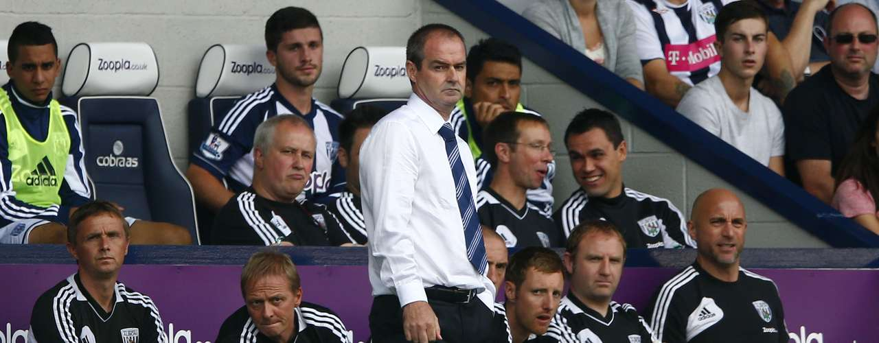 West Bromwich Albion's manager Steve Clarke watches as his team shocks in its debut.