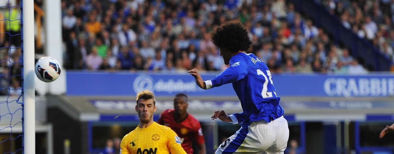 Marouane Fellaini of Everton hits the post during the Barclays Premier League match between Everton and Manchester United at Goodison Park on August 20, 2012 in Liverpool, England.