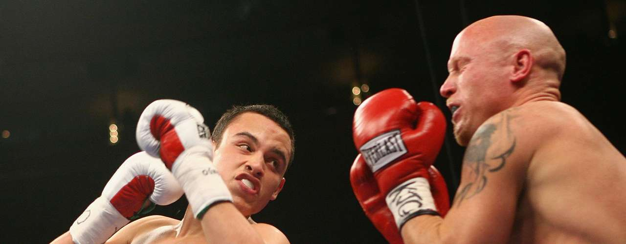 Julio Cesar Chavez, Jr. of Mexico swings a left at Grover Wiley during their Welterweight bout on June 9, 2007 at Madison Square Garden in New York City.