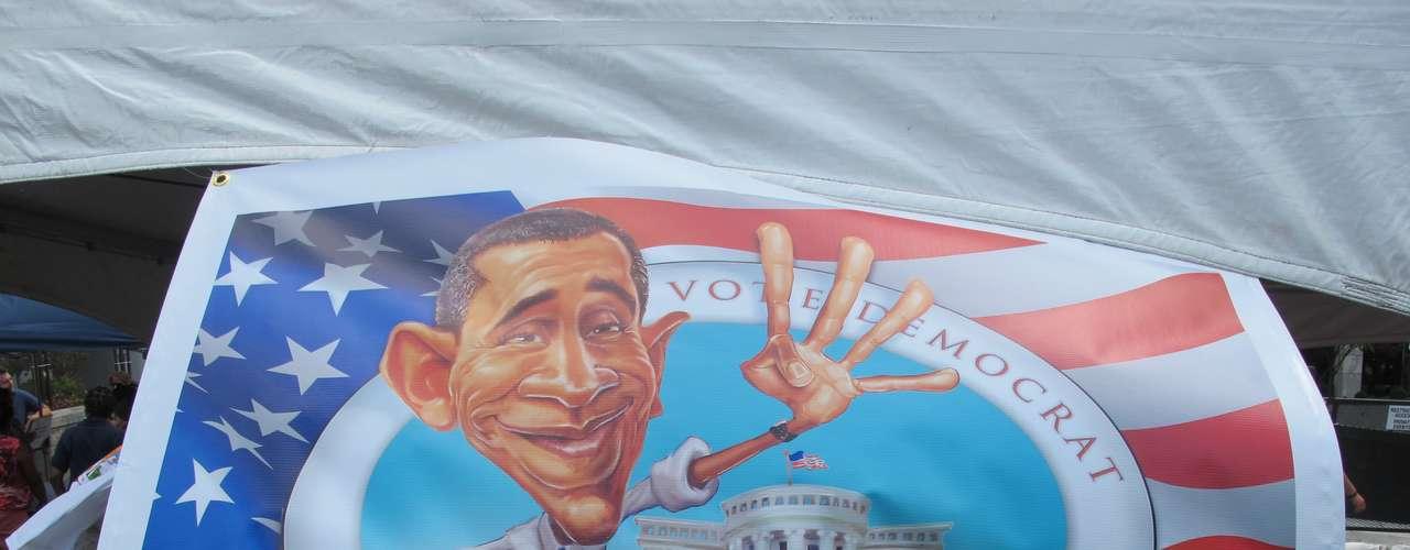 Cuatro años más, parece pedir Obama en esta pintura que estaba a la venta.