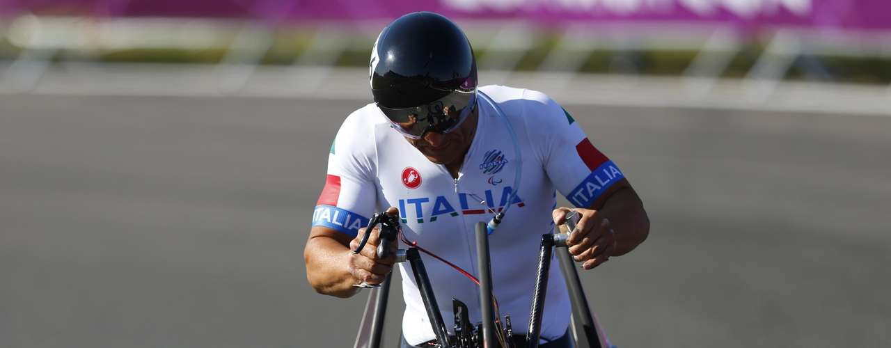 Former Formula One and Cart racing car driver Alessandro Zanardi of Italy, cycles during the Men's Individual H4 Time Trial.