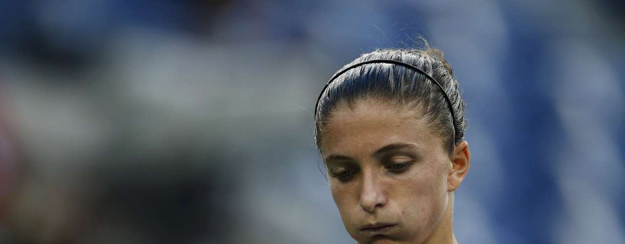 Sara Errani of Italy reacts after a missed point against Serena Williams.