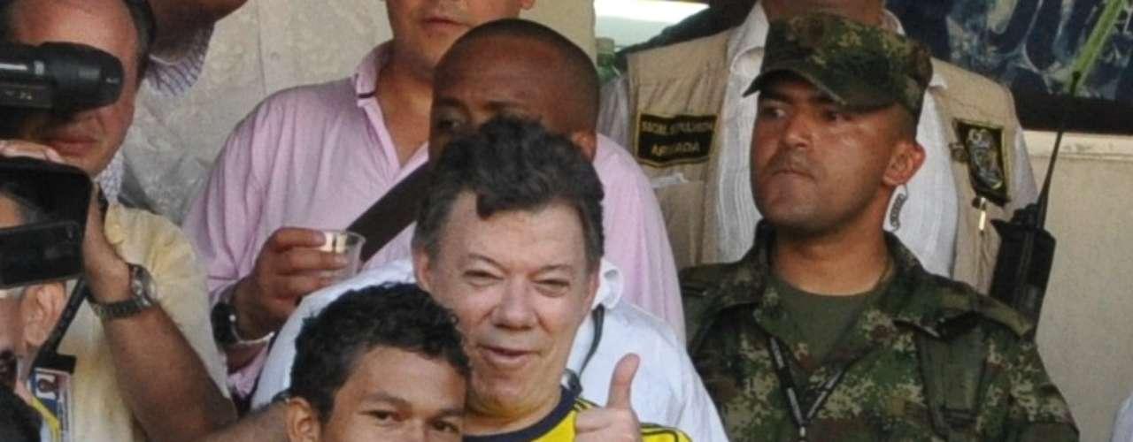 El Presidente de la República, Juan Manuel Santos, también estuvo presente en el juego.
