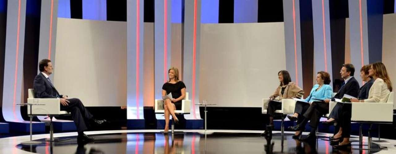 Imagen del plató de los estudios Buñuel en los que ha tenido lugar la entrevista al presidente del Ejecutivo.
