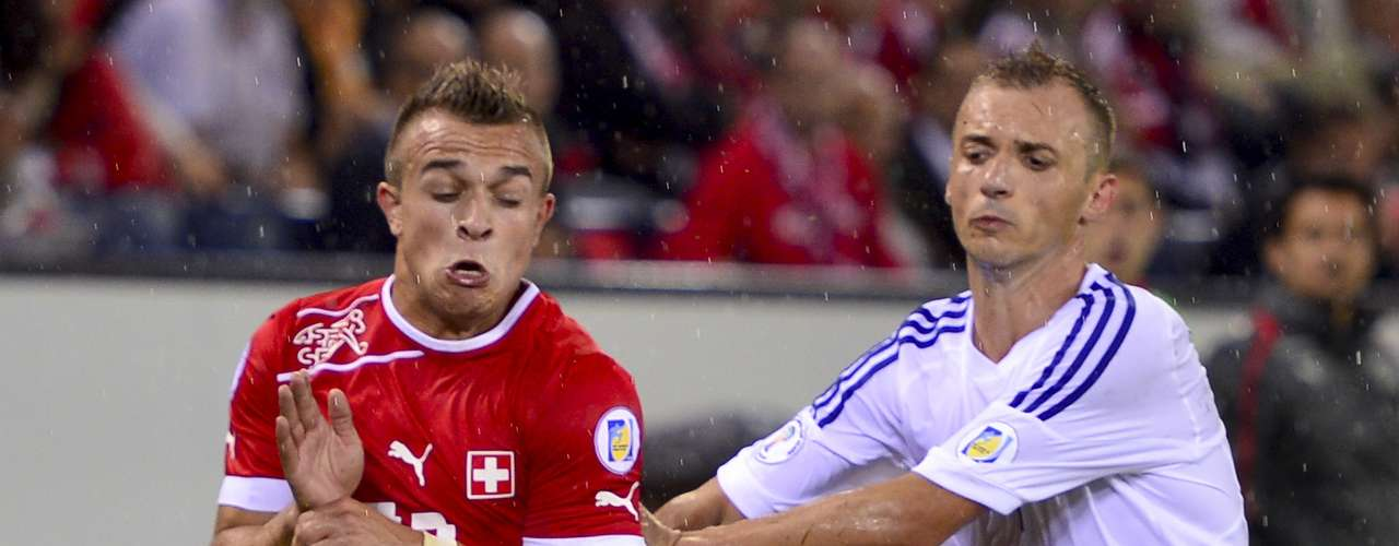 Bayern Munich's Xherdan Shaqiri (left) put Switzerland on board at the 23rd minute on their 2-0 win over Albania.