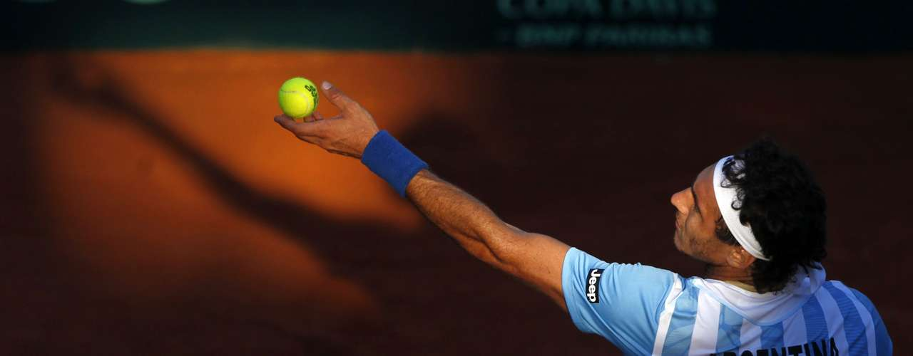 Juan Monaco of Argentina serves to Tomas Berdych of Czech Republic during their Davis Cup World Group match in Buenos Aires September 14, 2012. REUTERS/Marcos
