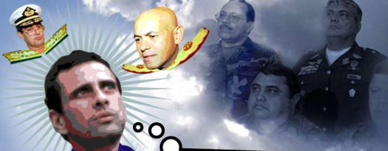 Henrique Capriles, principal opositor de Chávez el 7 de octubre, es ridiculizado en su sitio.
