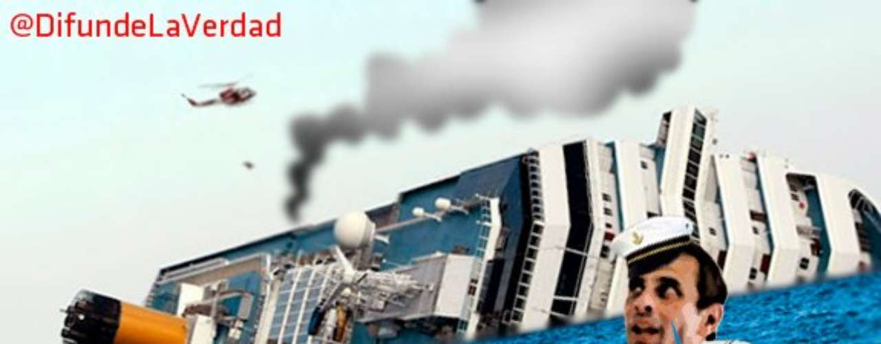 Capriles es retratado en las más diversas situaciones. En esta imagen, el candidato de la oposición aparece vestido de capitán de un barco que acaba de hundirse.