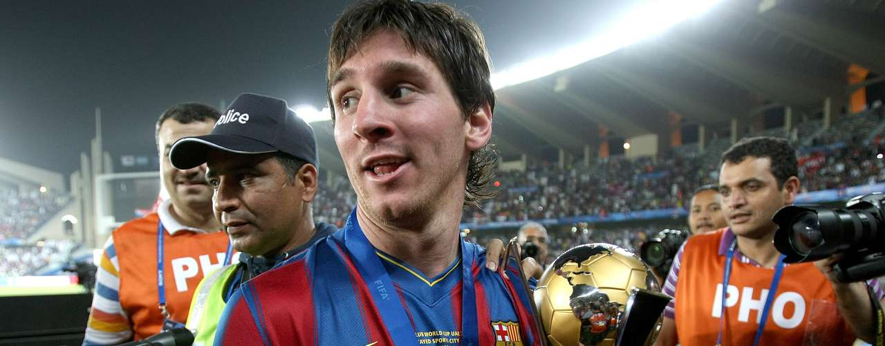 With Barcelona, Lionel Messi has won five league titles, five Spanish Super Cups, two Copa del Rey titles, three Champions League titles, two UEFA Super Cups and two Club World Cups.