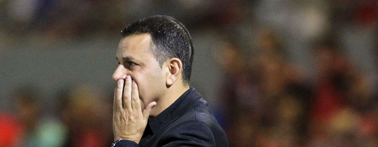 Hapoel Tel Avivs manager, Nitzan Shirazi, gestures during the match.