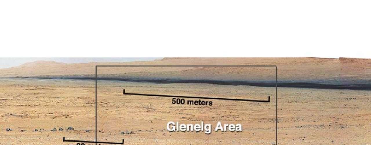 Esta foto tomada por el Curiosity muestra tres clases diferentes de tierra que pueden ser encontradas en suelo de Marte.