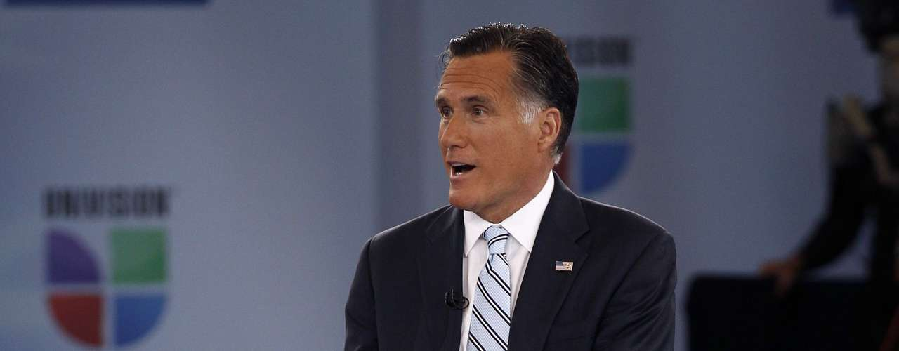 U.S. Republican presidential nominee and former Massachusetts Governor Mitt Romney speaks at Univision and Facebook's \