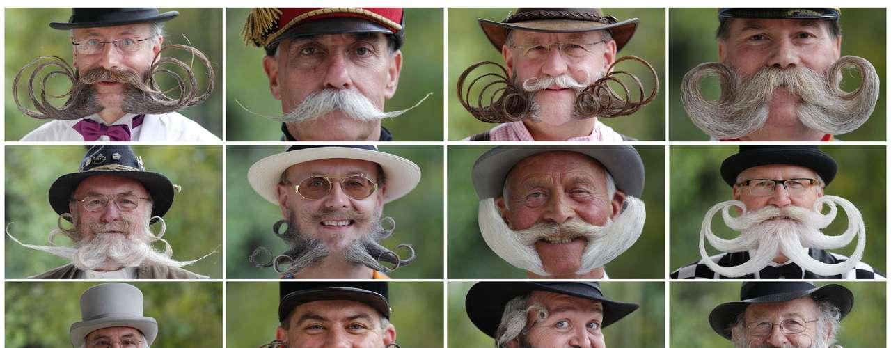 Algunas de las barbas y bigotes que han participado en el certamen celebrado en Francia.
