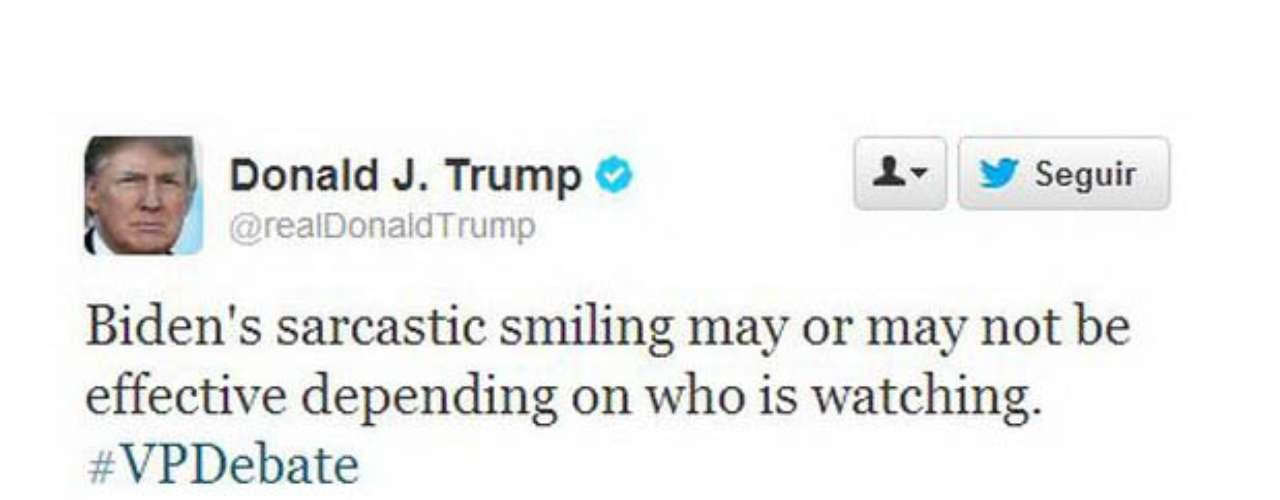 Uno de los más activos de Twitter fue el multimillonario Donald Trump. Escribió varios tweets, entre los que se destaca su análisis de la risa de Biden. \