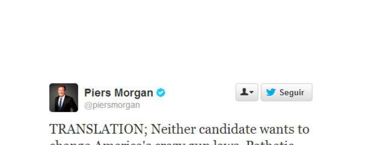 Piers Morgan opinó sobre casi todos los tópicos del debate, pero uno de sus mejores tweets, fue cuando se refirió al tema de las armas en Estados Unidos. \
