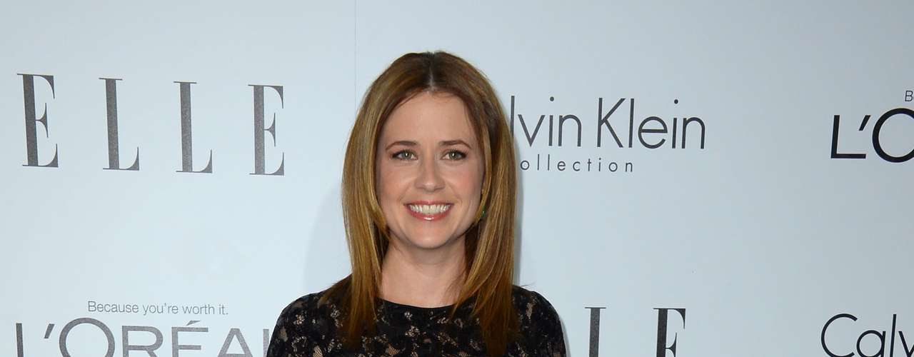 Jenna Fischer hides those curves in a black Basler dress.