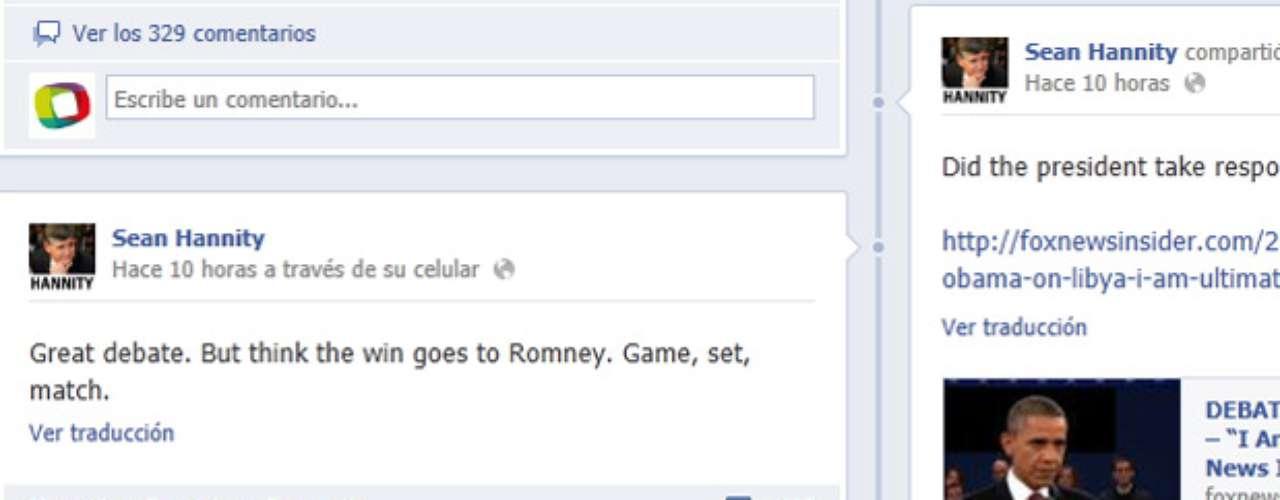 El locutor de radio y líder político Sean Hannity publicó en su muro de Facebook su opinión sobre el segundo debate entre Romney y Obama. Lo calificó como un gran debate y dio como ganador al candidato republicano.