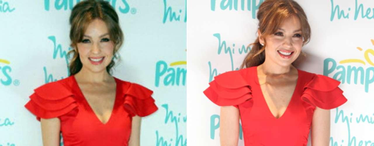 Thalía deslumbró a muchos, al lucir un ceñido vestido rojo, que resaltó sus curvas, durante la presentación, en Miami, de la campaña \