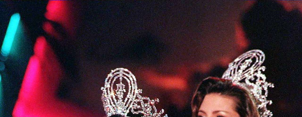 The next year Alicia Machado seemed to not be ready to pass her crown over to Miss USA Brook Lee.