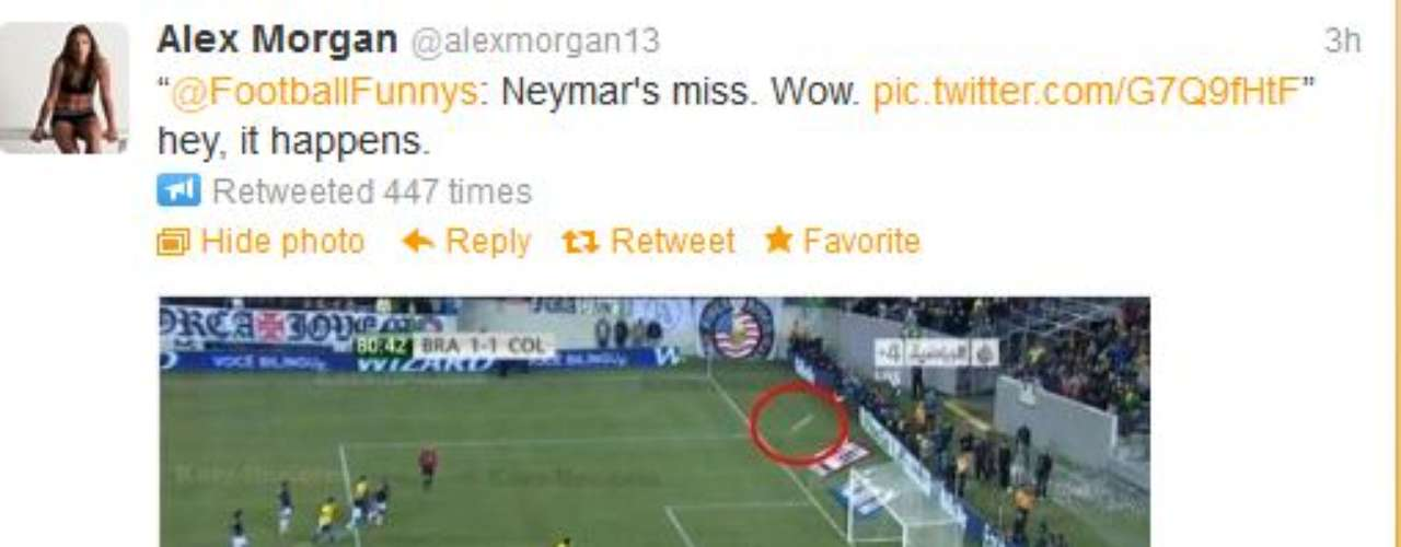 Like many other people, Alex Morgan pokes some fun of Neymar's terrible penalty kick miss when she retweeted this Twit Pic. In case you don't get it, Space Jumping Felix Baumgartner has to go back to the heavens to retrieve the ball.