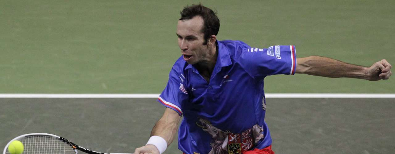 Czech Republic's Radek Stepanek returns a ball to Spain's Nicolas Almagro during their Davis Cup tennis tournament final match in Prague November 18, 2012.