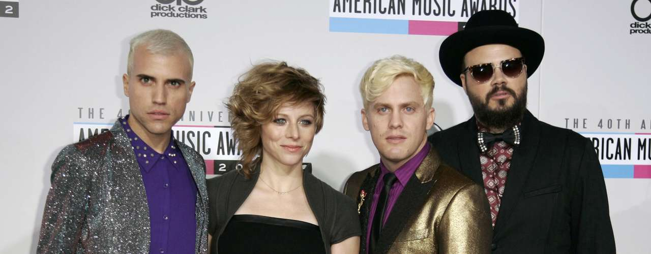 Rock band Neon Trees arrive at the 40th American Music Awards in Los Angeles, California November 18, 2012.