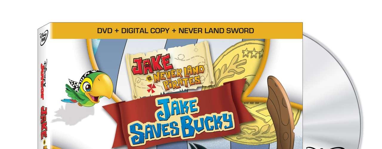 JAKE AND THE NEVER LAND PIRATES JAKE SAVES BUCKY Naveguemos con Jake y su tripulación en una aventura de largo alcance yalta velocidad en alta mar. De acuerdo al Código Pirata de Never Land, Jake y su tripulación deben correr una carrera con Bucky contra el Jolly Roger y el artero Capitán Hook. Pero si Bucky pierde, le pertenecerá para siempre a Hook. Por supuesto, Hook utiliza todas las artimañas posibles y gana la carrera. Pero puede ser que Jake y su tripulación encuentren la forma de recuperar a Bucky. Con la ayuda de Peter Pan, los jóvenes piratas se embarcan en una aventura a través de Never Land que incluye pasar frente a un dragón que escupe fuego. El combo pack \